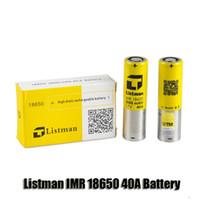 mod bataryaları yüksek drenaj toptan satış-% 100 Orijinal Listman IMR 18650 4000mAh 40A 3.7V Yüksek Drenaj Şarj Edilebilir Pil 510 iplik Kutusu Mod için