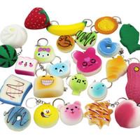 Wholesale Food Cartoons - Squishy Simulation Bread 30pcs Random Mix PU Cute Lovely Cartoon Pendant Kawaii Food Squishy Super Kid Toy Decompression Toys