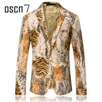 Wholesale Tiger Blazer - Wholesale- OSCN7 Tiger Mens Printed Blazer 2017 Fashion Blazer Masculino Slim Fit Leisure Plus Size Mens Blazer Jacket Costume Homme