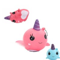 Wholesale Cartoon Cake For Kids - 30pcs lot New Kawaii Cute Squishy Pink blue Whale Millie Cartoon Collectible Squeeze Elasticity Stretch Vent Bread Cake Kid Toy Gift
