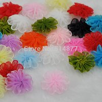 Wholesale Wholesale Craft Organza Flowers - Wholesale- 30pcs Upick Organza Ribbon flowers Wedding Decor Appliques Sew Craft B33