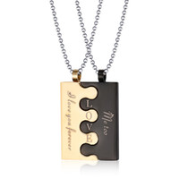 Wholesale Couple Necklace Black Gold - Fashion Lock Couple Necklace & Pendants For Men   Women Stainless Steel Wedding Jewelry CN-001