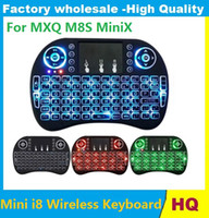 Wholesale Minix Keyboard - New Fly Air Mouse 2.4G Mini i8 Wireless Keyboard Backlit With Backlight Red Green Blue Remote Controlers For MXQ M8S MiniX