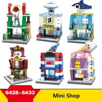 Hot selling New Arrive Hsanhe Mini street Series Ocean World, Dinosaur Park, UFO, Space Research Shop Irregular Building Blocks City Bricks #6428-6433