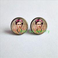 Wholesale Cheap Nail Jewelry - ES-00538 Cheap Frida ear nail Kahlo Earrings Frida Kahlo photo ear stud pendant Frida jewelry art pendant charm feminist