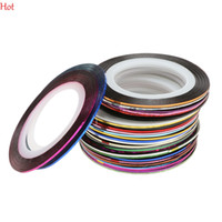 Wholesale Nail Striping Polish - 1mm 30pcs Lot Colors Glitter Nail Striping Line Tape Sticker Set Nail Art Decorations DIY Tips Nail Decoral For Polish Gel Manicure 19817