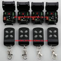 Wholesale Learning Code Wireless - Wholesale- AC110V--260V 10A 1Channe RF wireless remote control switch System teleswitch 8pc lot (4 Transmitter + 4 Receiver Learning code)