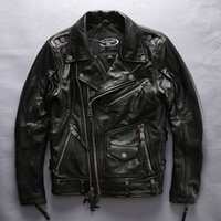 Wholesale double standard clothing online – design HARLEY ANGEL Man Heavy locomotive motorcycle clothing men s double lapel oblique zipper short coats thick leather jacket