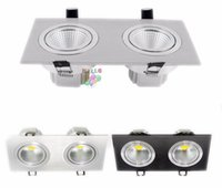 Preto / Prata Shell 20W 30W Led Downlight Dupla Cabeças Led Teto Lâmpada Dimmable Led Recessed Luzes AC 110-240V