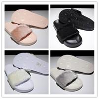 chinelos pretos sexy venda por atacado-Mulheres New Rihanna Fenty sapatos Chumbo de Pele Interior-Rosa, Preto, Branco Deslizamento Chinelos Senhoras Sexy Moda Scuffs Sandálias US5-9.5 Frete Grátis