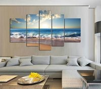 Wholesale Textured Oil Paintings - 5pcs set Unframed Beach Waves Sunrise Seascape Painting Wall Art Oil Painting On Canvas Textured Picture Living Room Home Decor