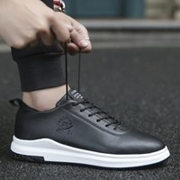 Wholesale Atmosphere Shoes - New Breathable Plate Shoes Men Simple Atmosphere Wearable Lace-Up Men Shoes Leather Casual Shoes zapatillas hombre chaussure homme