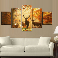 Wholesale Framed Deer Pictures - 5pcs set Sunset Golden Deer Wall Art Oil Painting On Canvas (No Frame) Animal Impressionist Paintings Picture Living Room Decor