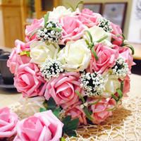 ingrosso fiori di cascata viola-28cm PinkWhite Rose Bridal Bouquet Artificiale fiori matrimonio a cascata o Purplewhite
