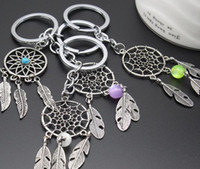 Wholesale Dreamcatcher Keychains - NEW Amulet Vintage Dream Catch Key Pendant Indian Style Dreamcatcher Keychain Wicker Crafts Women Gifts 6 Colors Free Shipping