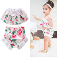 Wholesale Girls Lace Flower Clothing Set - Babies Floral Sets Kids Girls Flower Lace Tops with Cotton Short pants 2017 childrens Summer Fashion Outfits Kids clothing