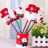 Wholesale Cheap Plastic Christmas Balls - 48pcs lot Cheap 2016 Merry Christmas Decoration Xmas Cute Gift Santa Claus Snowman Deer Elk Bear Ball Pens For Kids Decor