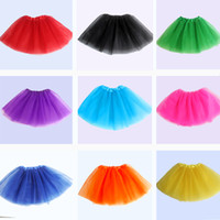 Wholesale Kid Christmas Dresses - 14 colors Top Quality candy color kids tutus skirt dance dresses soft tutu dress ballet skirt 3layers children pettiskirt clothes 10pcs lot.