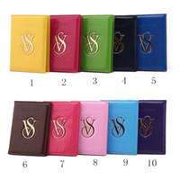 Wholesale Wholesale Leather Shorts For Women - Vs Victoria Passport Bag Secret PU Leather Travel Passort Credit ID Card Cash Slot Holder Wallet Bag Purse for Women Candy Colors