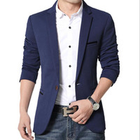 Wholesale Suits For Mens - Wholesale- 2017 New Mens Blazer Spring Fashion Suits For Men Top Quality Blazers Slim Fit Jacket Outwear Coat Costume Homme Blazer Men