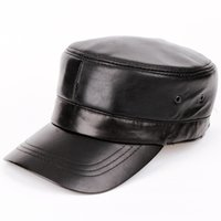 Wholesale biker leather wholesale - Wholesale- New style hat men Genuine leather Baseball Cap Biker Trucker outdoor Sports snapback Hats For Army hat