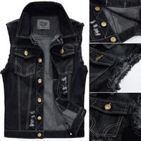 Wholesale Men Sleeveless Jean - Wholesale- Big Size Male Ripped Vintage Black Sleeveless Jean Jacket Men Motorcycle Cowboy Denim Vest Men Plus Size 4XL,5XL
