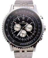 Mens Relógio de luxo Movimento automático Mecânico Big Face 50mm Stainless Steel Black Leather Gent's Watches Chronograph