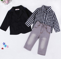 Wholesale children clothing boy black jeans resale online - EuropeStyle Handsome Children Set Baby Boys Clothes Black Coat Plaid Shirt Jeans pc Summer Child Kids Costume For Boys B4737