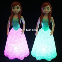 Wholesale Color Changing Baby Night Light - Wholesale- Baby Doll Toys For Girls Anna Elsa Toys Doll Ice Snow Queen 7 LED Color Changing night light kids Lamp Equestria Girls Gift