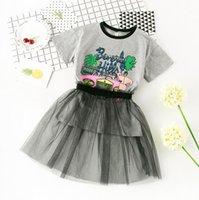 Wholesale Tshirt Tops Skirts - New Summer Baby Girls Set Kids Girl Cartoon Letters Long Tops Tshirt + Lace Tulle Skirt 2pcs Clothing Suit Children Outfits Set 3 Colors 304