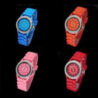 Wholesale Stylish Silicone Jelly Watches - Wholesale Classic Gel Silicone Crystal Men Lady Jelly Watch Gifts Stylish Fashion Luxury Free Shipping 50pcs