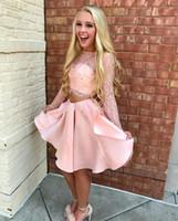 fuchsia rosa heimkehr kleider großhandel-Modern Pink Dark Fuchsia Lace Zweiteiler Homecoming Kleider Bateau Long Sleeves Backless Short Prom Kleider Sweety Satin Party Kleider