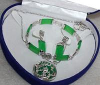 Wholesale Errings Silver - Green Chrysoprase pendant Errings Bracelet set --No box AAAAS