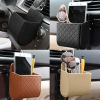 Wholesale Mobile Phone Hanging Doll - PU Leather Car Outlet Air Vent Trash Box Auto Mobile Phone Holder Bag Pouch Organizer Hanging Box for Car Supplies Car Styling