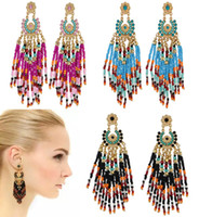Wholesale Beads For Hoop Earrings - Bohemian Beads Tassel Earrings 3 Styles Vintage Ethnic Bosnian Eardrop Hoop Earrings Punk Jewelry Gift For Women B737L