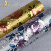 Wholesale Flower Wallpapers High Quality - Wholesale- High quality Vinyl Waterproof Gold,Silver Glitter Wallpaper For Walls 3D Flower Wall papers Home decor PVC Wallcovering R642