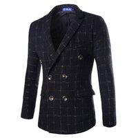 Wholesale Tartan Suit Men - Wholesale- Men Good Quality New Pattern Europe Style Fashion Wool Blend Double Breasted Tartan Men's Outwear Coat Jacket Suit Blazer