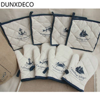 Wholesale Set Sea Fishing - Wholesale- DUNXDECO 1 Set Mediterranean Sea Fish Anchor Boat Print Linen Cotton Placemat Oven Mitt Baking Love Tools Home Decoration
