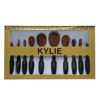 Wholesale Tooth Brush Kits - New Kylie Oval makeup brush set kylie jenner makeup brushes sets Foundation BB Cream Powder Blush 10pcs tooth shaped Brush set Free Shipping