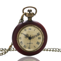 Wholesale Fish Glass Ball - Wholesale-Vintage Wood Circle Around Fish Eye Clear Glass Ball Pocket Watch With Chain P13