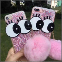 Wholesale Bling Iphone Big - Luxury Glitter Stars Bling Big Eyes Fuzzy Bulb Cases TPU Soft Cover Case for iPhone 7 6 6S Plus Cartoon Cute Lovely Skin