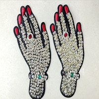 Wholesale Beaded Embroidered Fabric - 1 pcs Hand rhinestones beaded patches vintage embroidered fabric applique fashion clothing decoration sew on patch accessories supplie