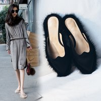 Furry Slippers Women Closed Toe Black Khaki Satin Slip On Rabbit Fur Flat Fashion Slides Outdoor Casual All Match 2017 New Drop Shipping
