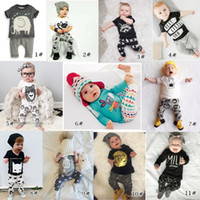 Wholesale Infants Gifts - New INS Baby Boys Girls Letter Sets Top T-shirt+Pants Kids Toddler Infant Casual Long Sleeve Suits Spring Children Outfits Clothes Gift K037