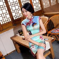 Wholesale Chinese Sexy Traditional Dress - Chinese Traditional Dress Split Floral Parrot Printed Qipao Sexy Silk Cheongsam Charming Short Dresses Party Skirt Formal Vintage Dress