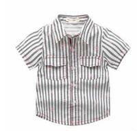 Wholesale Handsome T Shirt - Children T-shirt fashion boys cotton stripe stars bow tie floral lapel short sleeve T-shirt summer new kids handsome clothing C0565