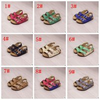 Wholesale casual sandles - Kids Flip-flops Sandals Summer Cork Sandles Beach Antiskid Slippers PU Slippers Casual Slippers Summer Sandalias 9 color KKA1628
