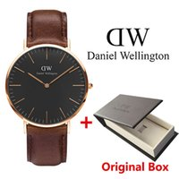 Wholesale leather watch red face - New Black face Daniel watches 40mm Men watches 36mm women watches Luxury Brand Quartz Watch Female Clock Relogio Montre Femme watch box