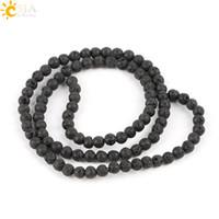 ingrosso materiali perline-CSJA 4 mm Creazione di gioielli tondo pietra preziosa naturale perline pietra nera perline lavica roccia vulcanica materia prima collana braccialetto accessorio E193 A