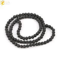 Wholesale Beaded Stone Necklaces - CSJA 4 mm Jewelry Making Round Natural Gemstone Beaded Stone Black Lava Beads Volcanic Rock Raw Material Necklace Bracelet Accessory E193 A